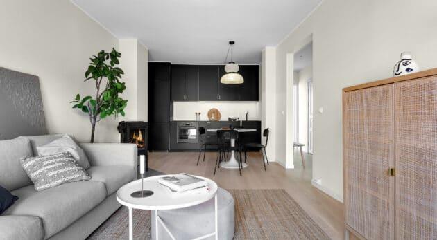 Tromsøgata 42 stue kjøkken etter oppussing