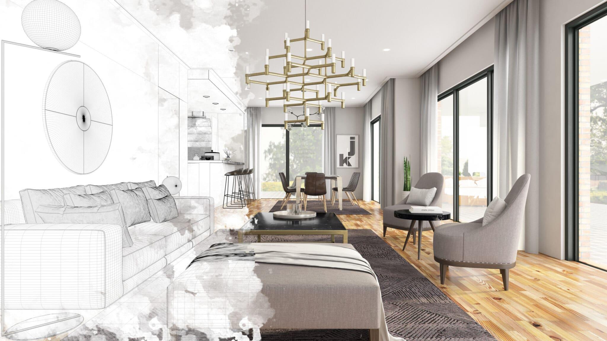 Half Drawing Sketch Modern Living Room Interior